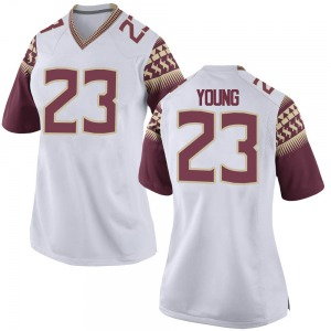 Tre Young Nike Florida State Seminoles Women's Game Football College Jersey - White